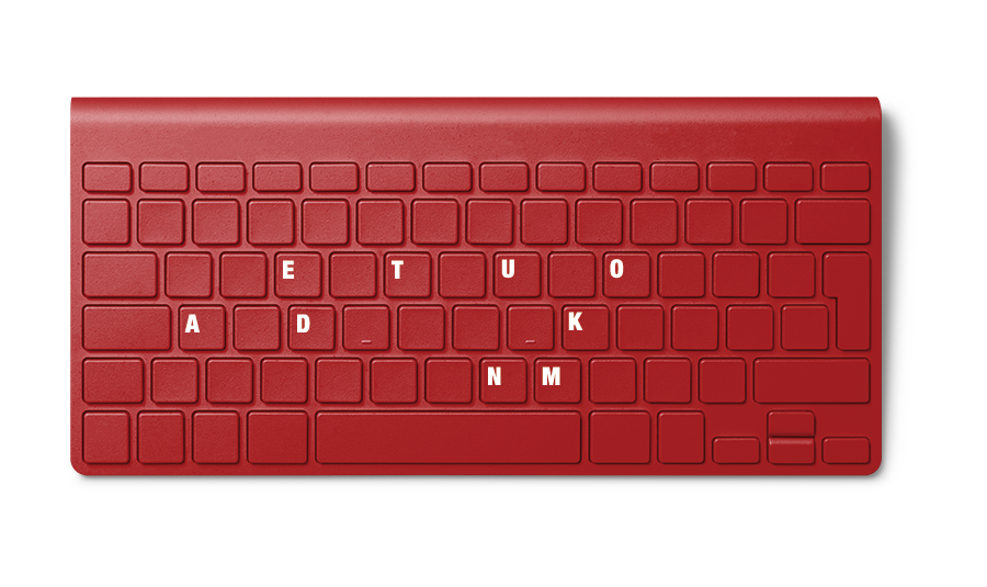 A red Dokumenta Keyboard